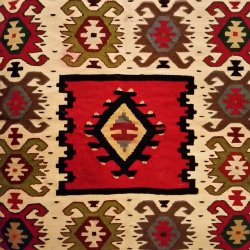 Woven rug, cilim, from Pirot in Eastern Serbia.